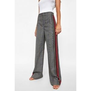 Zara Checked Trousers With Stripes XS